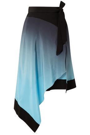 MUGLER Asymmetric dégradé silk crepe de chine skirt