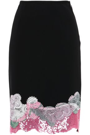 EMILIO PUCCI Scalloped embellished stretch-crepe pencil skirt
