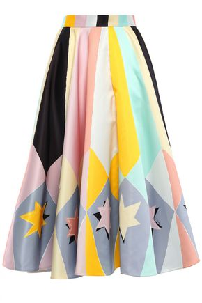 EMILIO PUCCI Flared printed duchesse-satin midi skirt