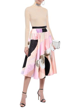 EMILIO PUCCI Sequin-embellished printed satin midi skirt