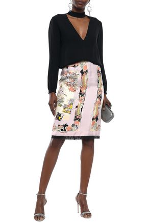 EMILIO PUCCI Lace-trimmed printed silk-twill pencil skirt