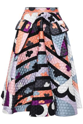 EMILIO PUCCI Flared quilted printed silk-blend satin skirt