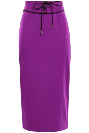 EMILIO PUCCI Lace-up wool-blend midi pencil skirt