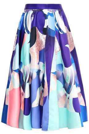 EMILIO PUCCI Flared sequin-embellished printed duchesse-satin midi skirt