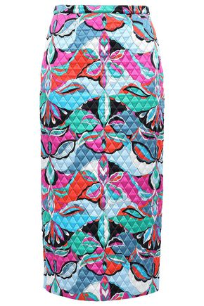 EMILIO PUCCI Printed quilted silk-satin midi pencil skirt