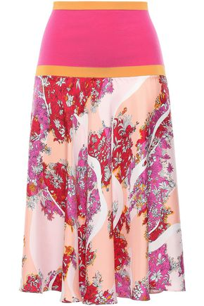 EMILIO PUCCI Ribbed knit-paneled printed silk-twill skirt
