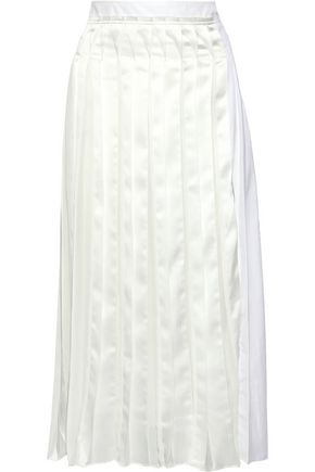 3.1 PHILLIP LIM Pleated satin and poplin midi skirt
