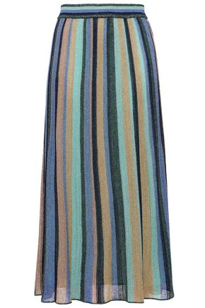 M MISSONI Metallic striped knitted midi skirt