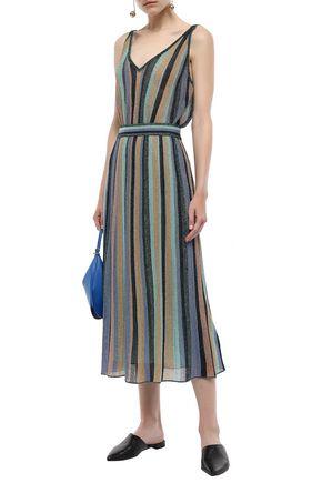 M MISSONI Metallic striped knitted midi skirt