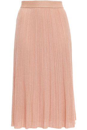 M MISSONI Metallic ribbed-knit midi skirt