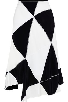 DEREK LAM Asymmetric patchwork silk-crepe midi skirt