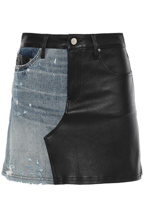 AMIRI Paneled leather and distressed denim mini skirt