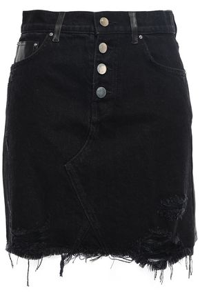 AMIRI Leather-paneled distressed denim mini skirt
