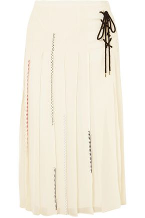 CARVEN Pleated silk-georgette midi skirt