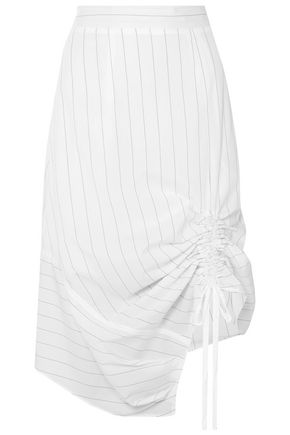 CLU Ruched pinstriped cotton-poplin skirt