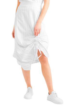CLU Ruched pinstriped cotton-poplin skirt