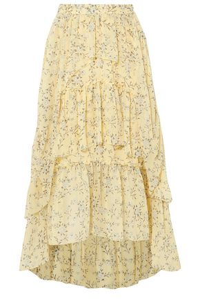 ULLA JOHNSON Tiered printed silk-georgette midi skirt