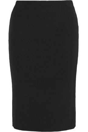 TOM FORD Leather-trimmed stretch-faille pencil skirt