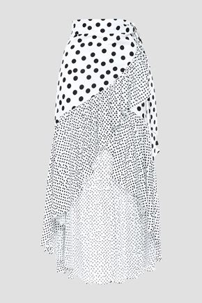 DE LA VALI Castana ruffled polka-dot cotton wrap skirt
