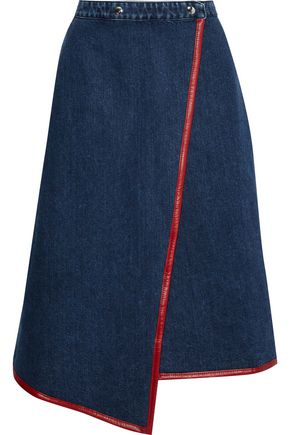 ACNE STUDIOS Leather-trimmed denim wrap skirt