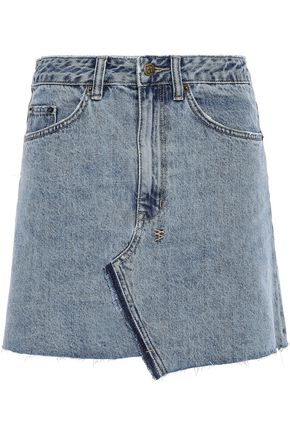 KSUBI Asymmetric denim mini skirt