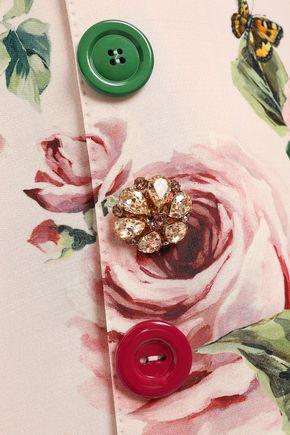 DOLCE & GABBANA Embellished wool and silk-blend cady mini skirt