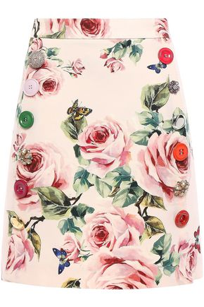 DOLCE & GABBANA Embellished wool and silk-blend cady mini skirt