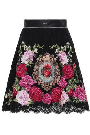 DOLCE & GABBANA Embroidered corded lace and tulle mini skirt