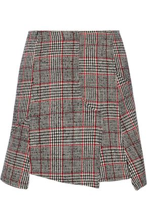 McQ Alexander McQueen Fringed Prince of Wales checked wool-blend mini skirt
