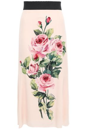 DOLCE & GABBANA Floral-print washed stretch-silk midi skirt