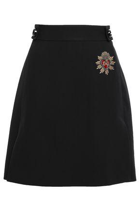DOLCE & GABBANA Appliquéd button-embellished wool mini skirt