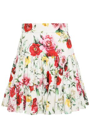 DOLCE & GABBANA Tiered floral-print cotton mini skirt