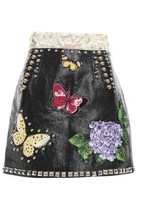 DOLCE & GABBANA Embellished patent-leather mini skirt