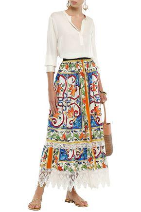 DOLCE & GABBANA Guipure lace-trimmed cotton-poplin maxi skirt