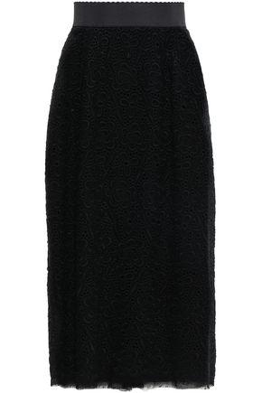 DOLCE & GABBANA Broderie anglaise wool-blend gauze midi skirt