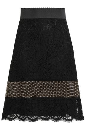 DOLCE & GABBANA Crystal-embellished corded lace mini skirt