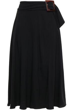 DOLCE & GABBANA Wrap-effect belted crepe midi skirt