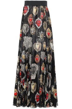 DOLCE & GABBANA Printed stretch-silk chiffon maxi skirt