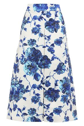 TORY BURCH Embellished satin midi skirt