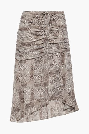 W118 by WALTER BAKER Lilah ruched snake-print crepe skirt