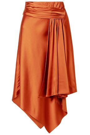 JONATHAN SIMKHAI Asymmetric draped satin skirt