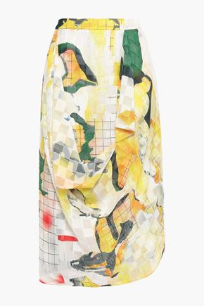 CHALAYAN Draped printed fil coupé chiffon skirt