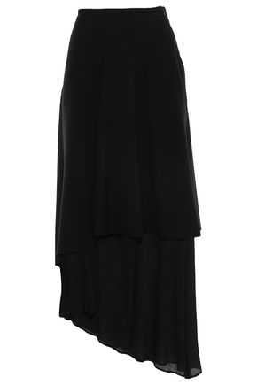 CHALAYAN Asymmetric layered satin-crepe and crepon midi skirt