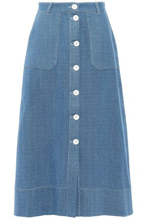 PERSEVERANCE Button-detailed cotton midi skirt