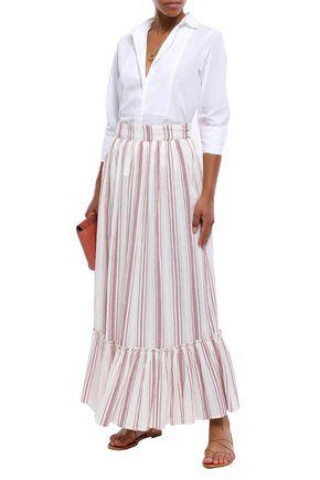 ANTIK BATIK Serifos striped cotton-gauze maxi skirt