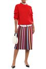 TORY BURCH Striped ribbed stretch-knit midi skirt