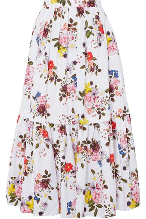 ERDEM Leigh layered floral-print cotton-poplin maxi skirt
