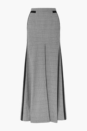 HELLESSY Merritt grosgrain-trimmed houndstooth tweed maxi skirt