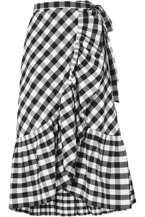 J.CREW Glo ruffled gingham cotton-poplin wrap skirt