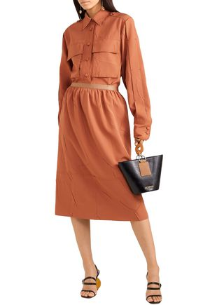Joseph Skirts JOSEPH WOMAN OLIVIER CRINKLED-CREPE MIDI SKIRT ORANGE